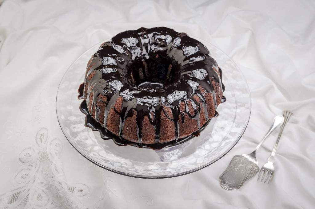 Chocolate cake on white cloth