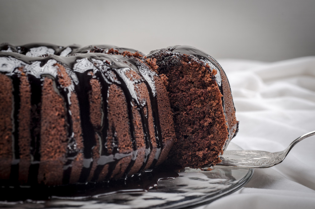 Slice of Chocolate cake with chocolate icing